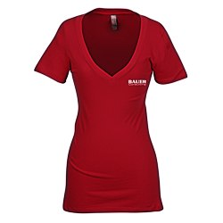 View a larger, more detailed picture of the Next Level 3 8 oz Deep V Tee - Ladies - Screen