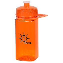 View a larger, more detailed picture of the PolySure Squared-Up Sport Bottle w Handle-16 oz -Translucent