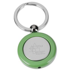 View a larger, more detailed picture of the Metal Lighted Key Tag - Round - Closeout