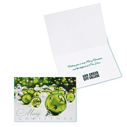 View a larger, more detailed picture of the Green & Silver Christmas Greeting Card