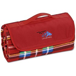 View a larger, more detailed picture of the Roll-Up Blanket Red Blue Plaid with Red Flap