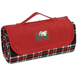 View a larger, more detailed picture of the Roll-Up Blanket Black Red Plaid with Red Flap