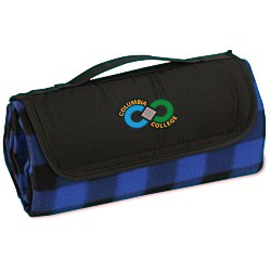 View a larger, more detailed picture of the Roll-Up Blanket Blue Black Plaid with Black Flap