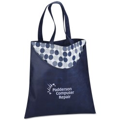 View a larger, more detailed picture of the Designer Print Scoop Tote - Dots - Closeout