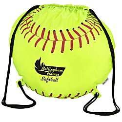View a larger, more detailed picture of the Game Time Softball Drawstring Backpack - 24 hr
