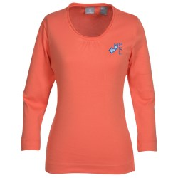 View a larger, more detailed picture of the Jockey 3 4 Sleeve Pima Scoop Neck Tee