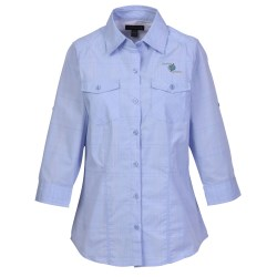 View a larger, more detailed picture of the Ralston 3 4 Sleeve Yarn Dyed Plaid Shirt - Ladies