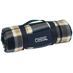View a larger, more detailed picture of the Galloway Travel Blanket Blue Cream Plaid