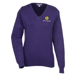 View a larger, more detailed picture of the Ultra-Soft Cotton V-Neck Sweater - Ladies - 24 hr