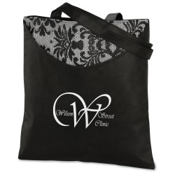 View a larger, more detailed picture of the Designer Print Scoop Tote - Black Lace - 24 hr