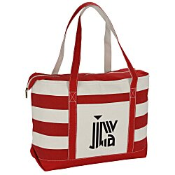 View a larger, more detailed picture of the Canvas Nautical 18 oz Zip Top Tote - 14 x 24