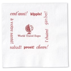 View a larger, more detailed picture of the Beverage Napkin - 2-ply - White - Cheers
