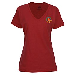 View a larger, more detailed picture of the Fruit of the Loom HD V-Neck T-Shirt - Ladies - Emb - Colors