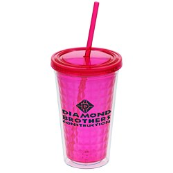 View a larger, more detailed picture of the Diamond Tumbler with Straw - 16 oz