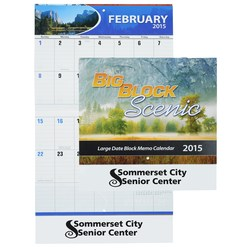 View a larger, more detailed picture of the Big Block Scenic Calendar - Stapled