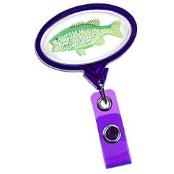 View a larger, more detailed picture of the Jumbo Retractable Badge Holder - 40 - Oval - Translucent