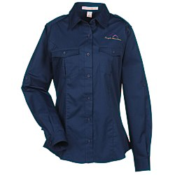 View a larger, more detailed picture of the Two-Pocket Stain-Resistant Roll Sleeve Shirt - Ladies