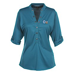 View a larger, more detailed picture of the OGIO Poly Interlock Stay-Cool Henley - Ladies
