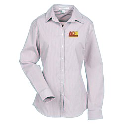 View a larger, more detailed picture of the Fine Stripe Stretch Poplin Shirt - Ladies