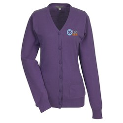 View a larger, more detailed picture of the Narenta V-Neck Cardigan Sweater - Ladies - 24 hr