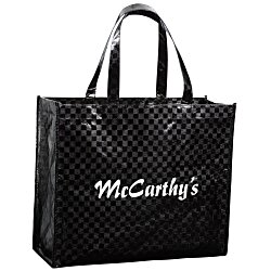 View a larger, more detailed picture of the Metallic Gloss Checkered Designer Tote - 13 x 16