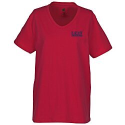 View a larger, more detailed picture of the Hanes ComfortSoft V-Neck Tee - Ladies - Color
