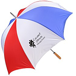 View a larger, more detailed picture of the Budget-Beater Golf Umbrella - Red White Blue - 24 hr