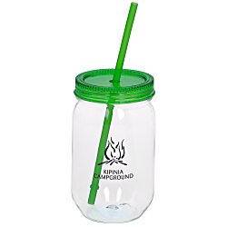 View a larger, more detailed picture of the Fiesta Mason Jar with Straw - 22 oz