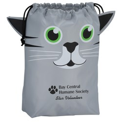 View a larger, more detailed picture of the Paws and Claws Drawstring Gift Bag - Kitten