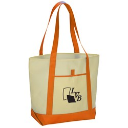 View a larger, more detailed picture of the Lighthouse Cream Boat Tote - Closeout