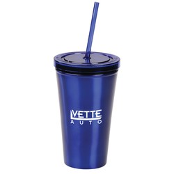View a larger, more detailed picture of the Alumni Stainless Tumbler w Straw - 16 oz - Closeout