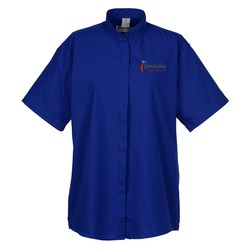 View a larger, more detailed picture of the Broadcloth Short Sleeve Banded Collar Shirt - Ladies