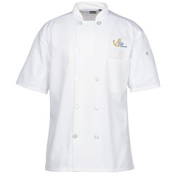 View a larger, more detailed picture of the Ten Button Short Sleeve Chef Coat with Mesh Back