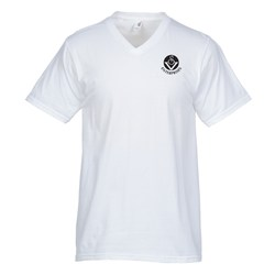 View a larger, more detailed picture of the Anvil Ringspun 5 4 oz V-Neck T-Shirt - Men s - White