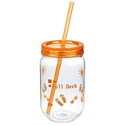 View a larger, more detailed picture of the Fiesta Mason Jar with Straw - 22 oz - Summer