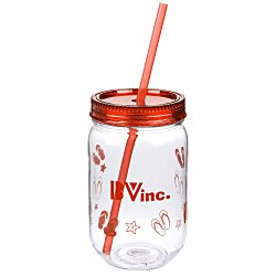View a larger, more detailed picture of the Fiesta Mason Jar with Straw - 22 oz - Flip Flops