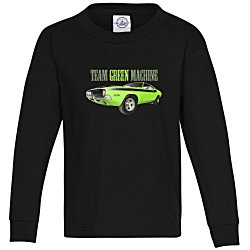 View a larger, more detailed picture of the 5 2 oz Cotton Long Sleeve T-Shirt - Youth - Full Color