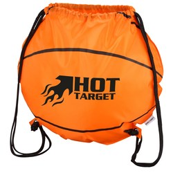 View a larger, more detailed picture of the Game Time Basketball Drawstring Backpack-Overstock