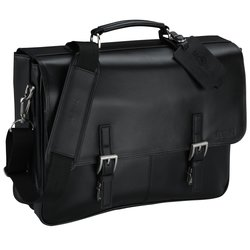 View a larger, more detailed picture of the Kenneth Cole Manhattan Leather Laptop Messenger - 24 hr