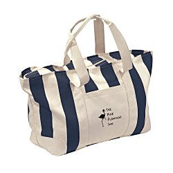 View a larger, more detailed picture of the Striped Canvas Tote - Large