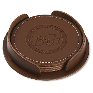 Leather 4-Piece Coaster Set Main Image