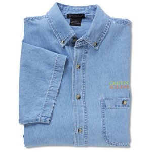 Short Sleeve 100% Cotton Denim Shirt