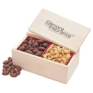 Wooden Box with Almonds & Cashews Main Image