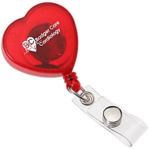 Heart Shaped Retractable Badge Holder - Translucent Main Image