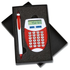 Pocket Oval Calculator / Pen Gift Set Main Image
