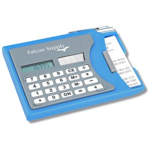 Calculator w/Business Card Holder and Pen