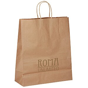 "Kraft Paper Brown Eco Shopping Bag – 15-3/4"" x 13"" Main Image"