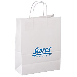 "Kraft Paper White Shopping Bag – 13"" x 10"" Main Image"