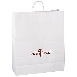 "Kraft Paper White Shopping Bag – 19-1/4"" x 16"" Main Image"