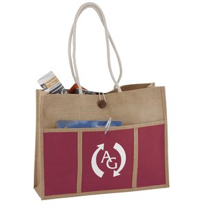 Jute Panel Pocket Tote